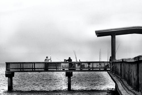 Free stock photo of pier ocean fishing black-and-white