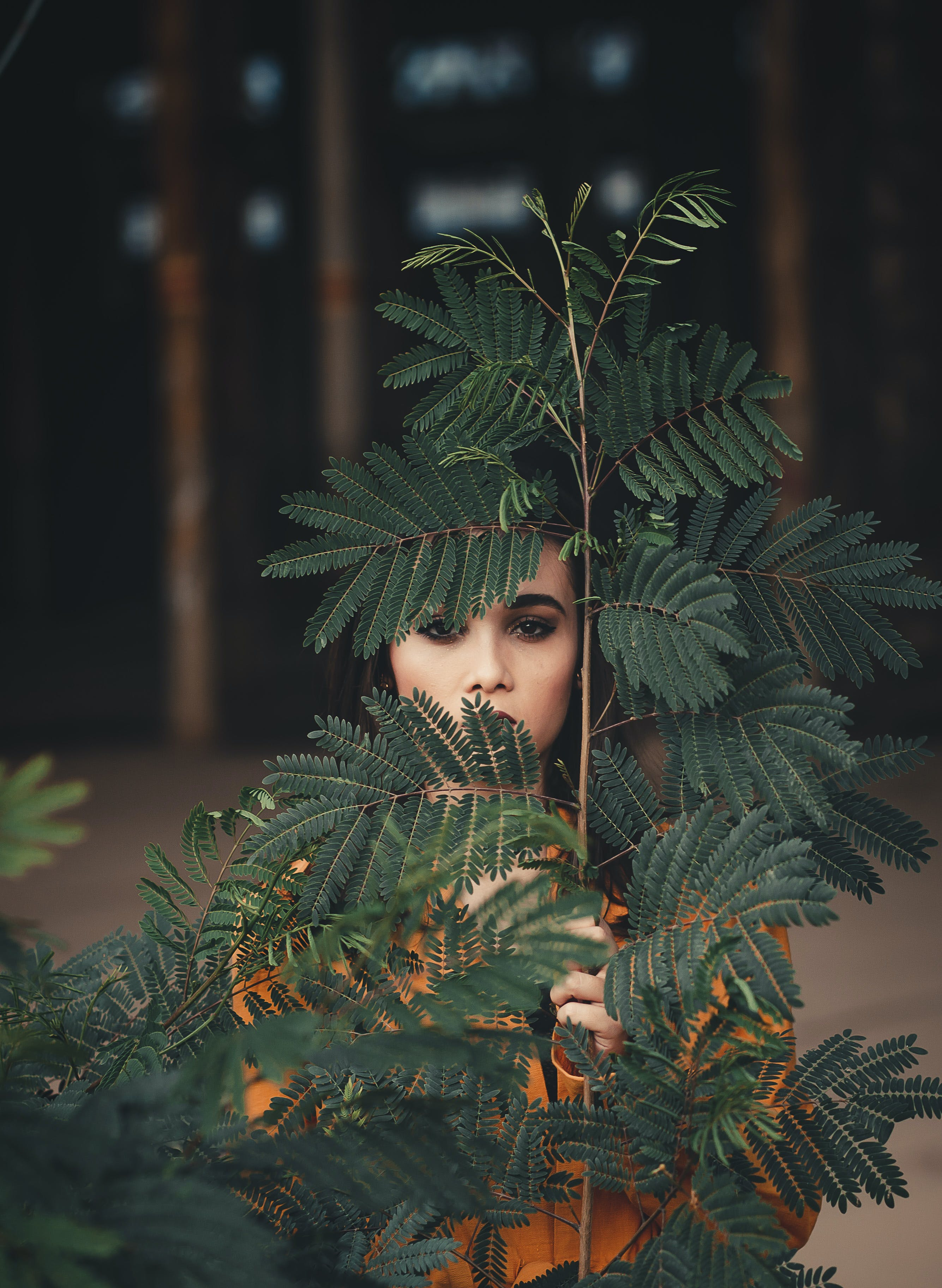 Woman Standing Behind Green Plant