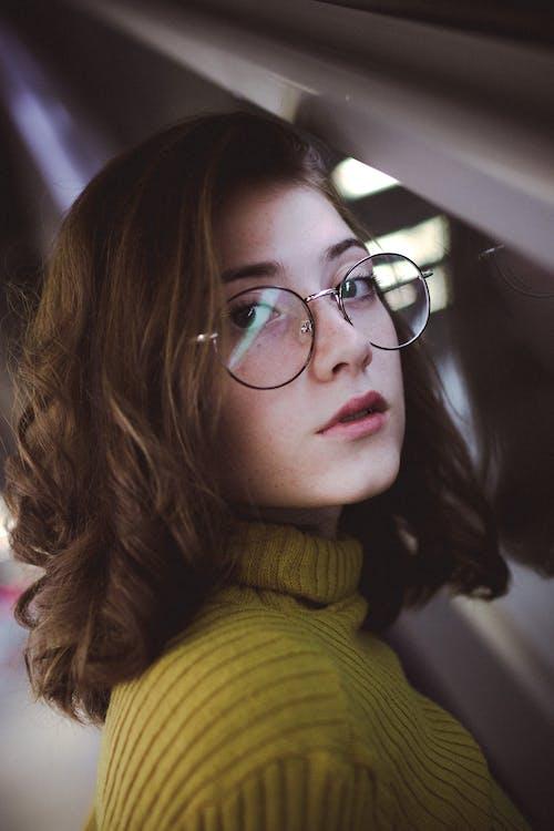 briller, brunette, close-up