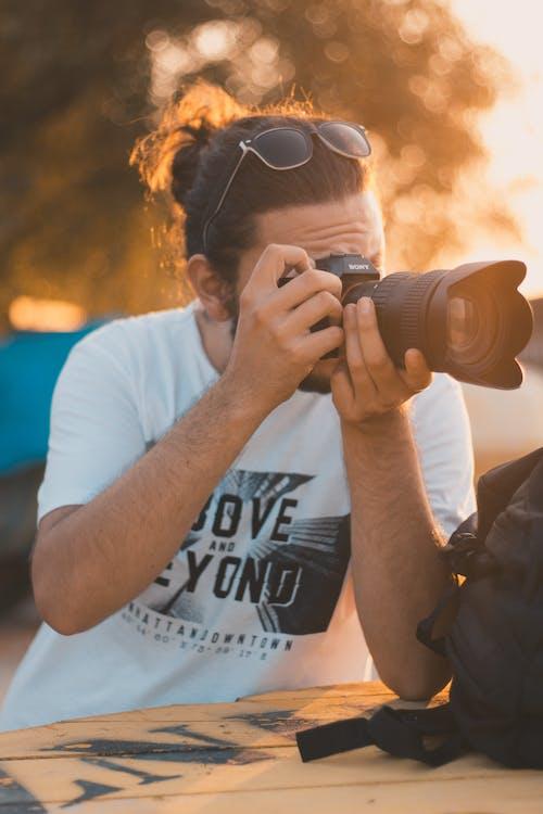 人, 單反相機, 拍照片