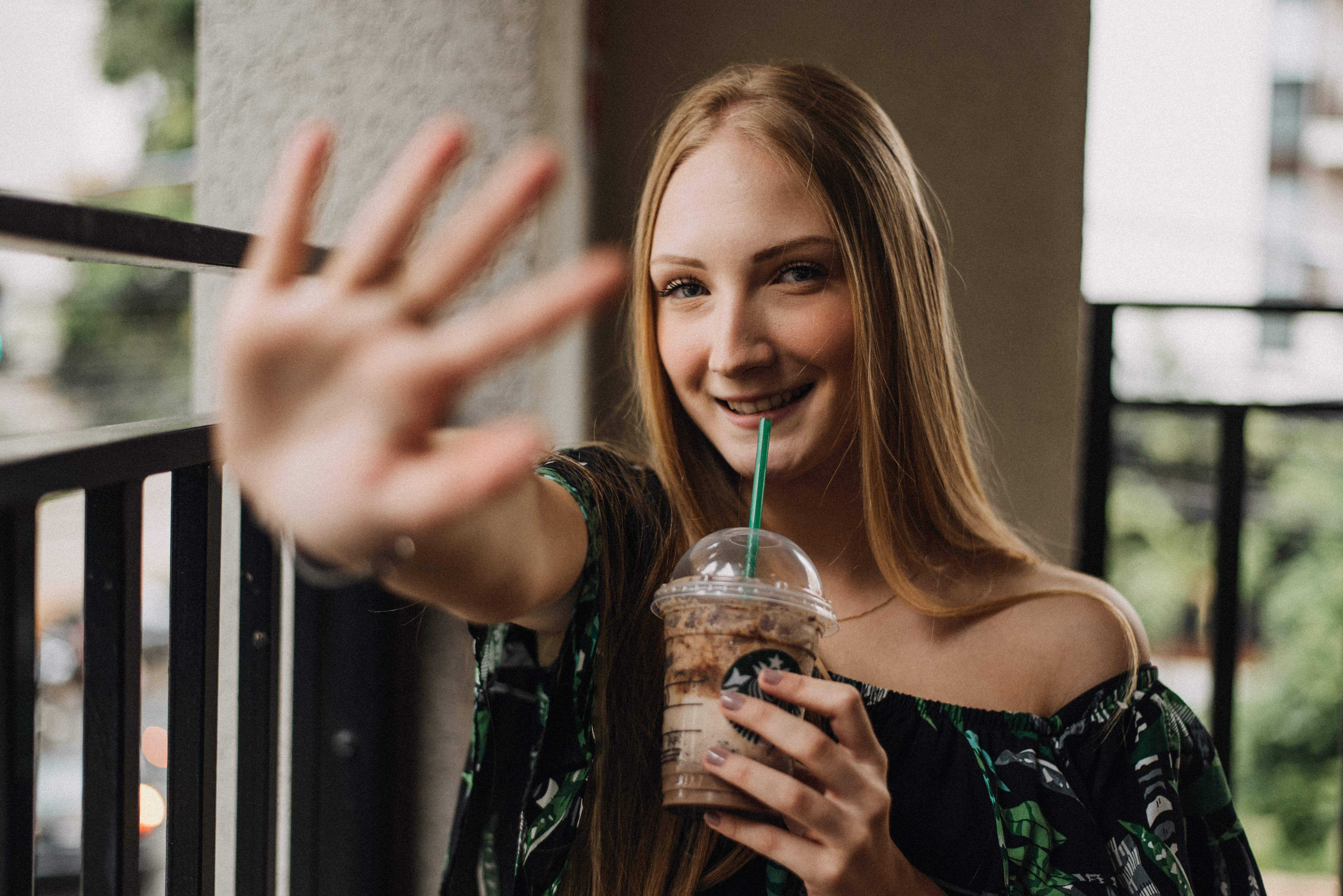 Free stock photo of blond hair, blue eyes, coffee, color pallet