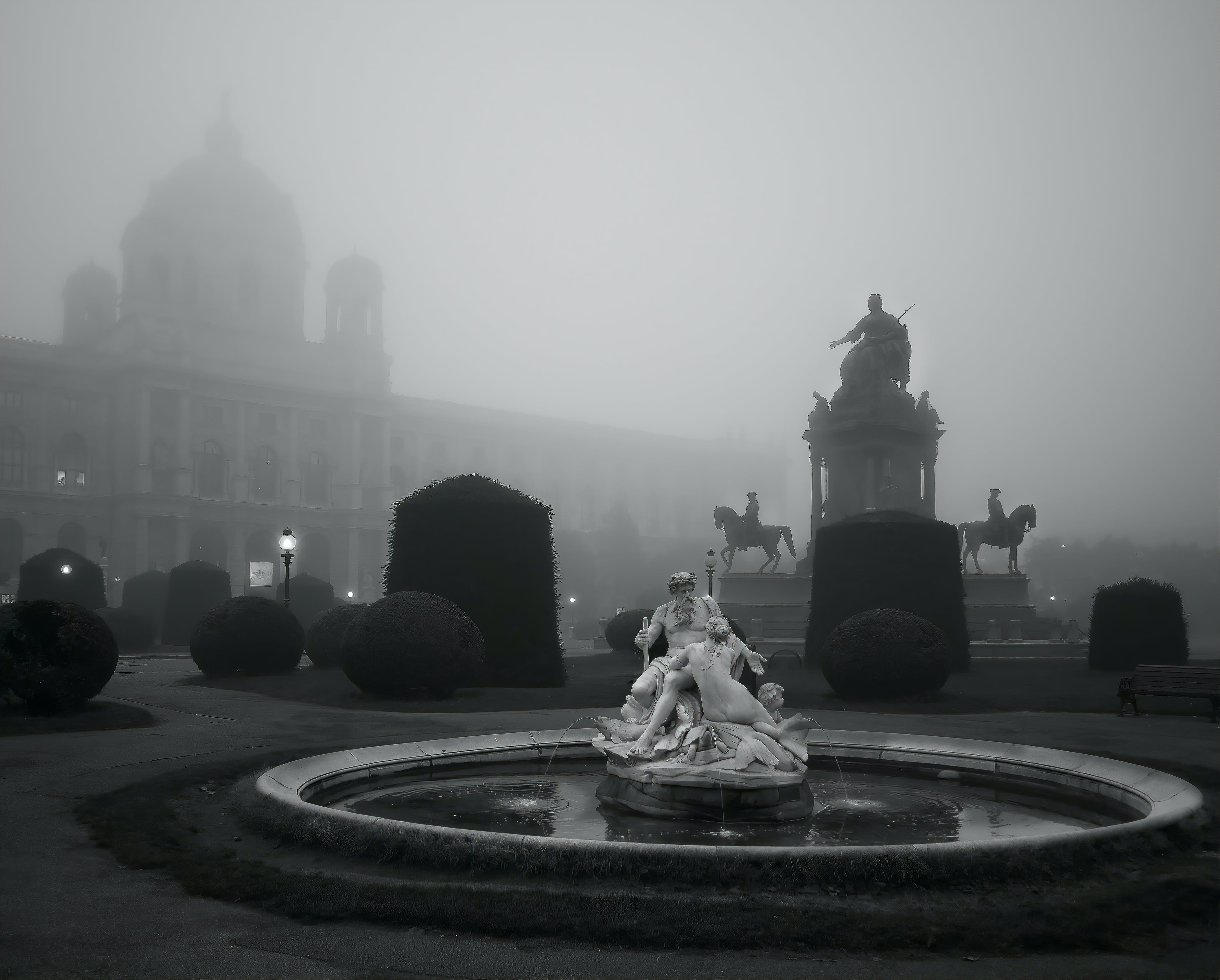 b + w, 博物館, 噴泉, 城市 的 免费素材照片