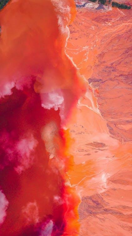Red-orange Waves Wallpaper