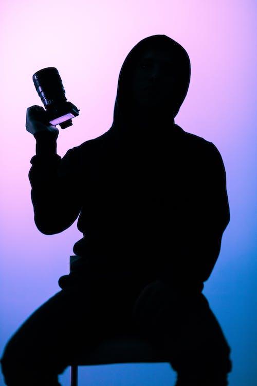 Silhouette Fotografie Der Person, Die Slr Kamera Hält