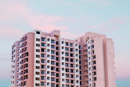 Pink and White Building