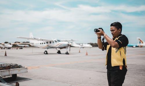 Photos gratuites de aéroport, appareil photo, arrière-plan flou, aviation