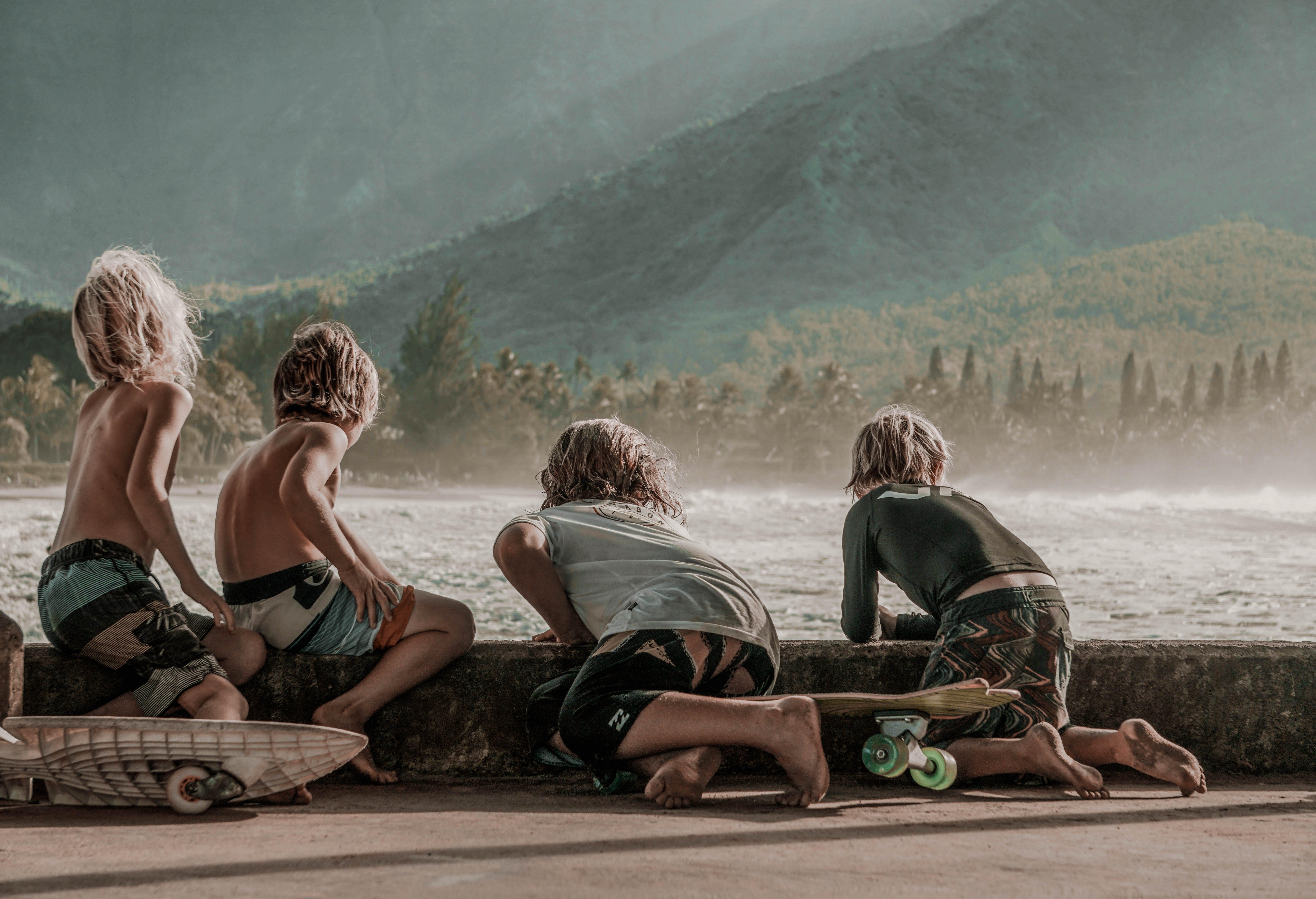bølger, børn, drenge