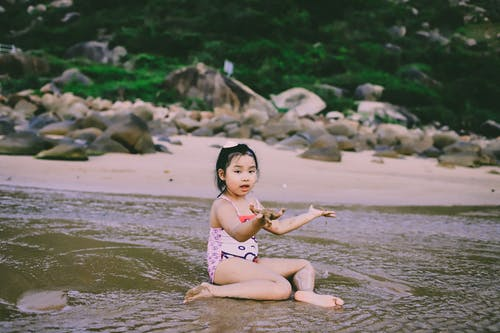 Girl Sitting on Seashore