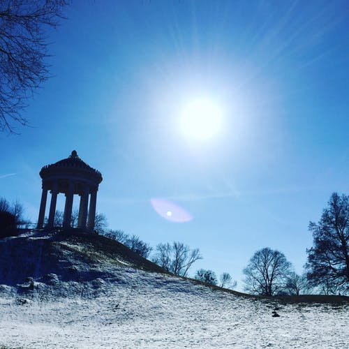 Free stock photo of temple sky blue snow day black shade