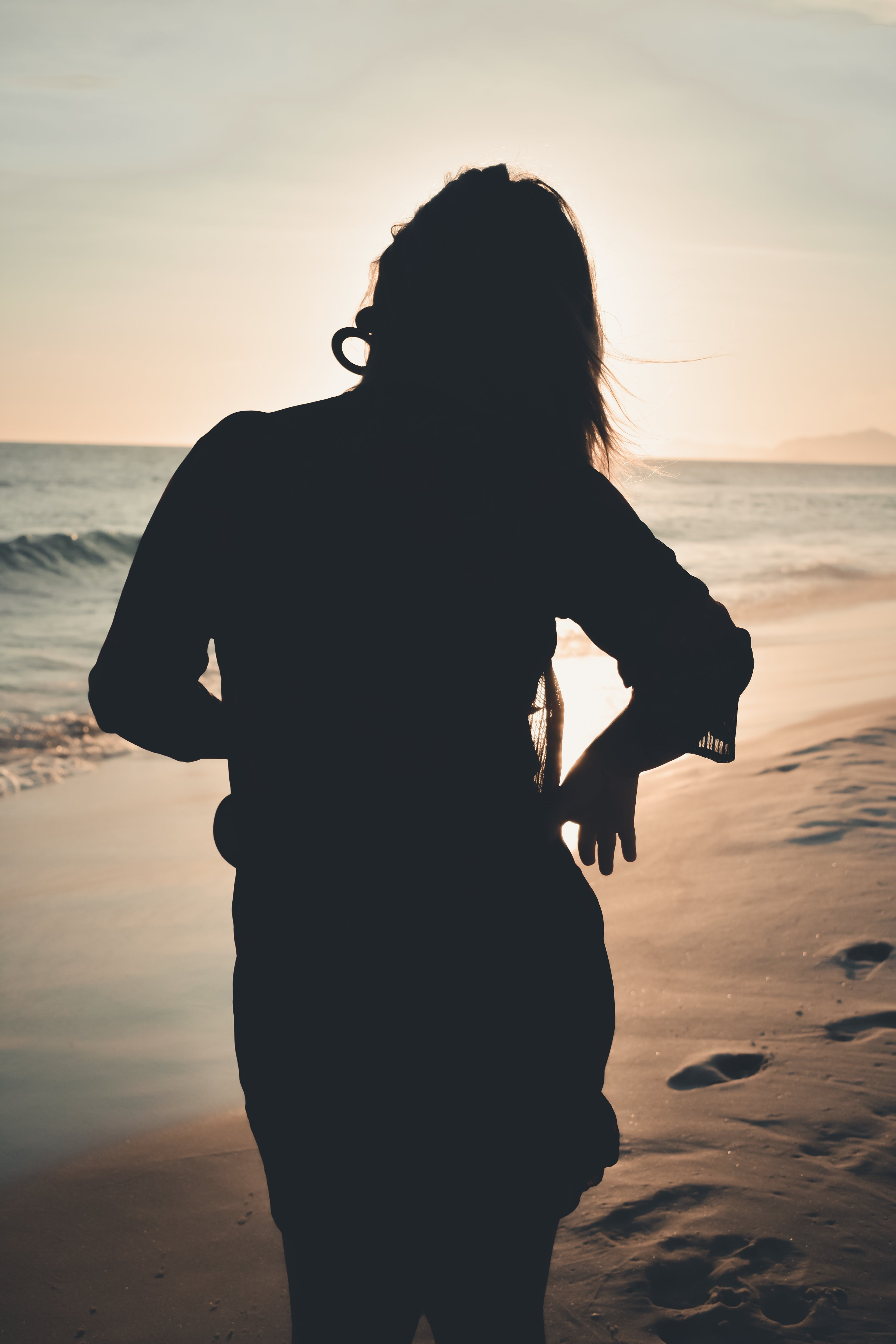 Silhouette Photography of Girl Standing on Shore