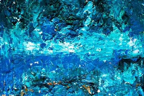 Close View of Blue Abstract Painting