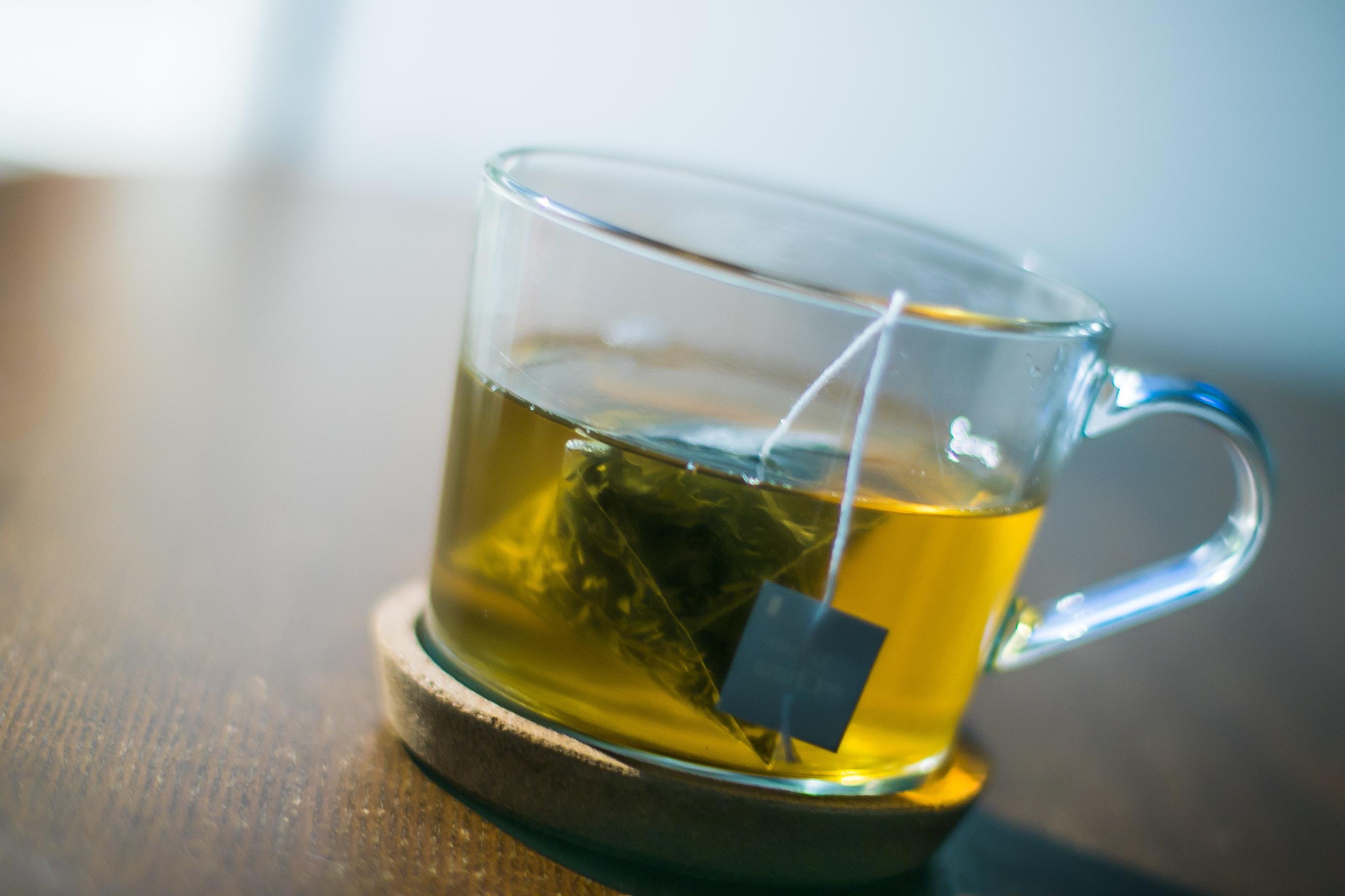 Free stock photo of crystal glass, green, green tea