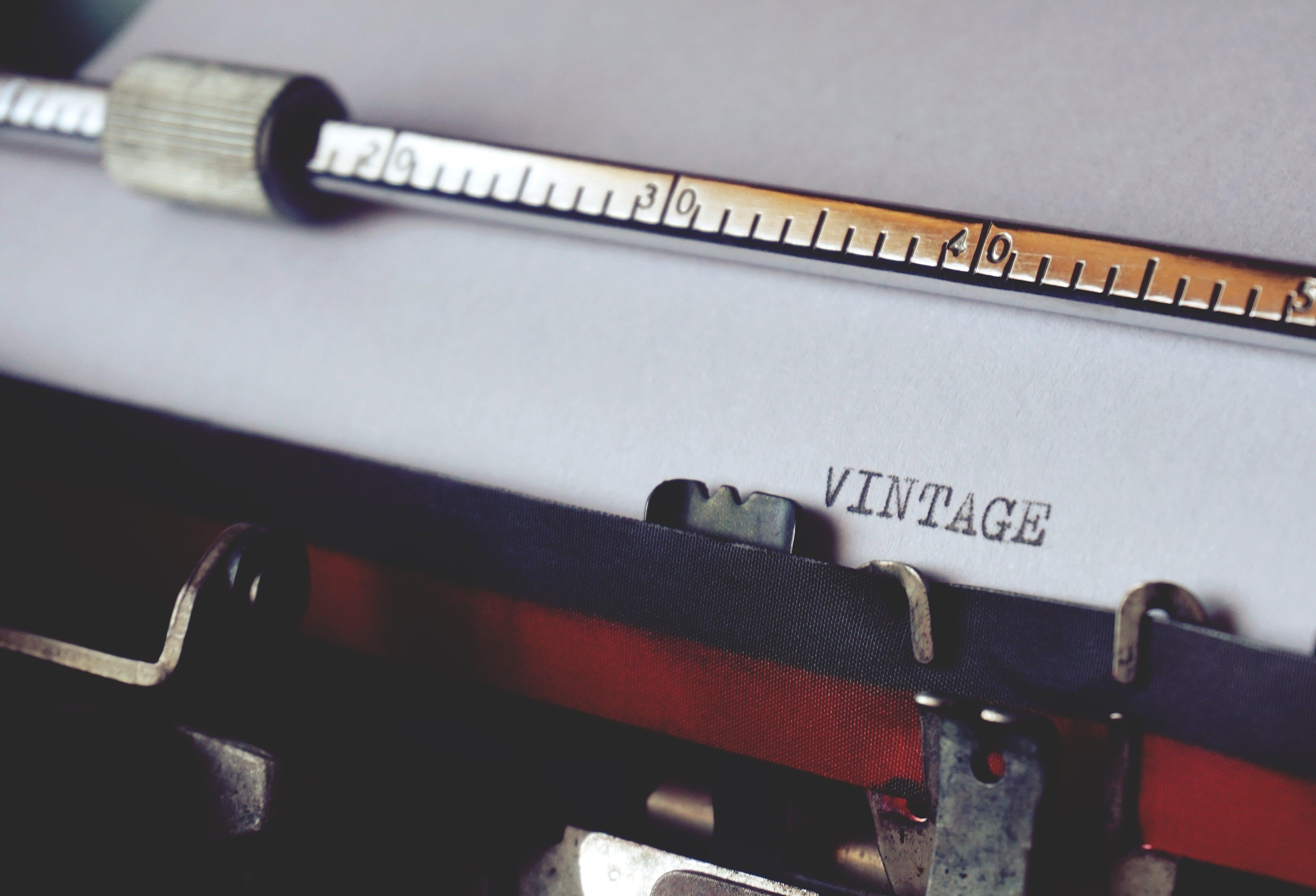 årgang, close-up, gammel skrivemaskine