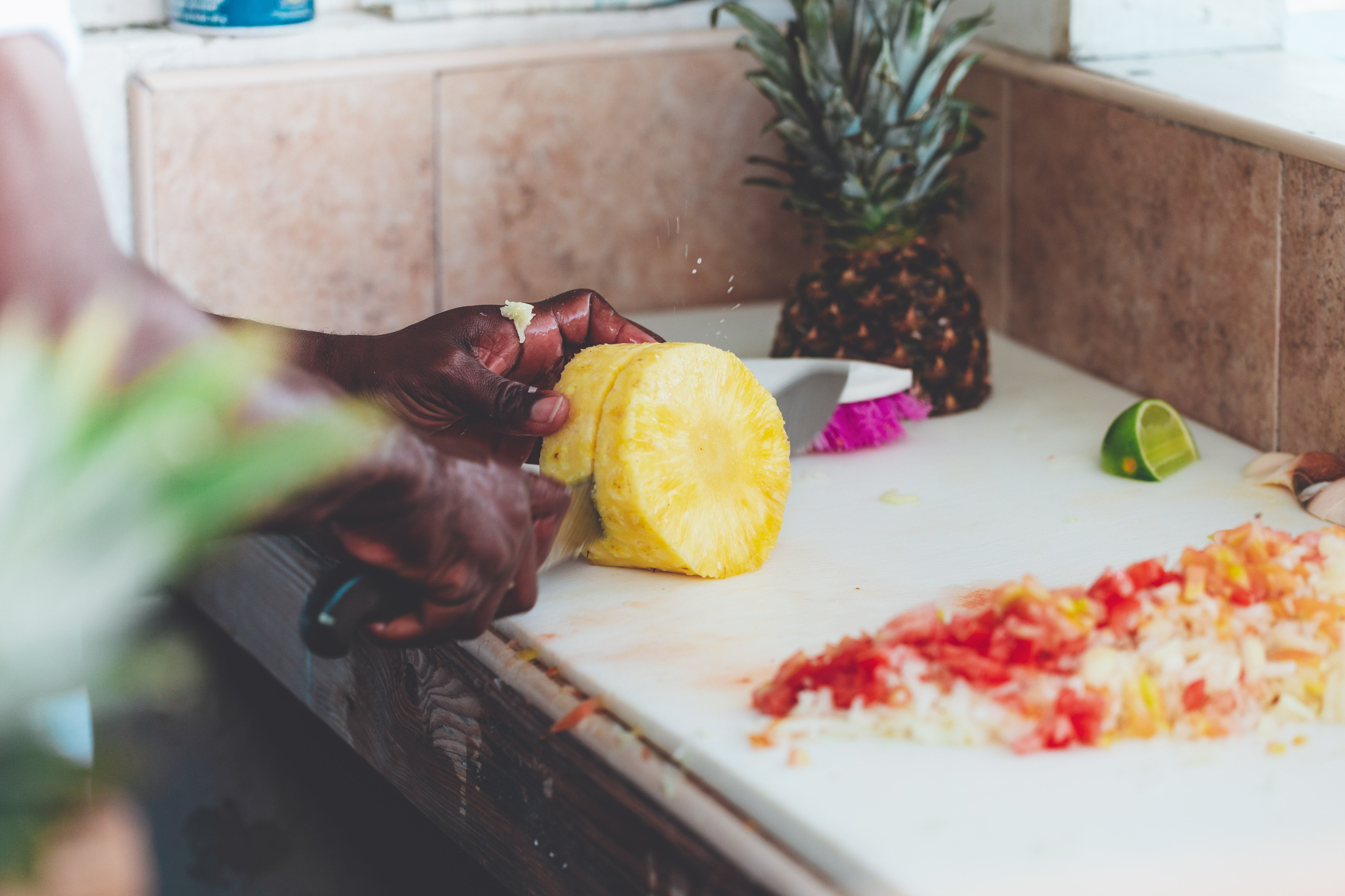 Person Chopping Fruit