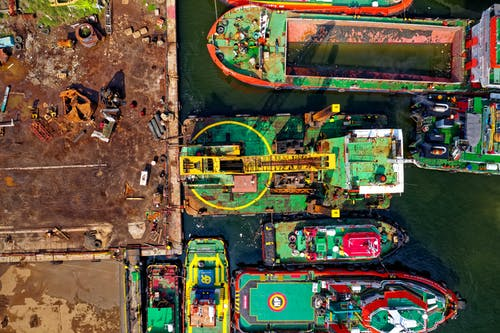 Aerial Photography of Ships