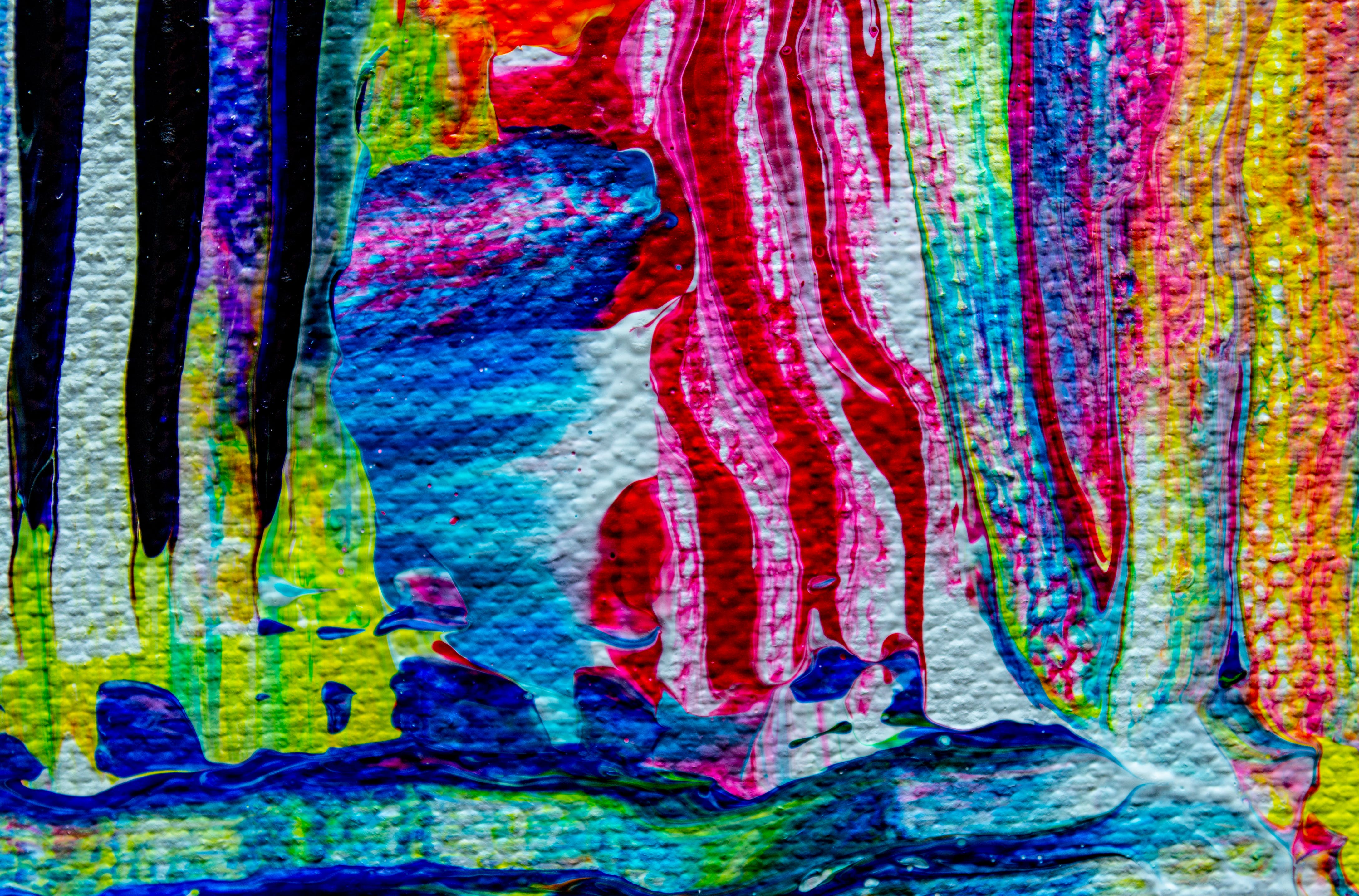 Pink, Blue, Green, and Yellow Abstract Painting