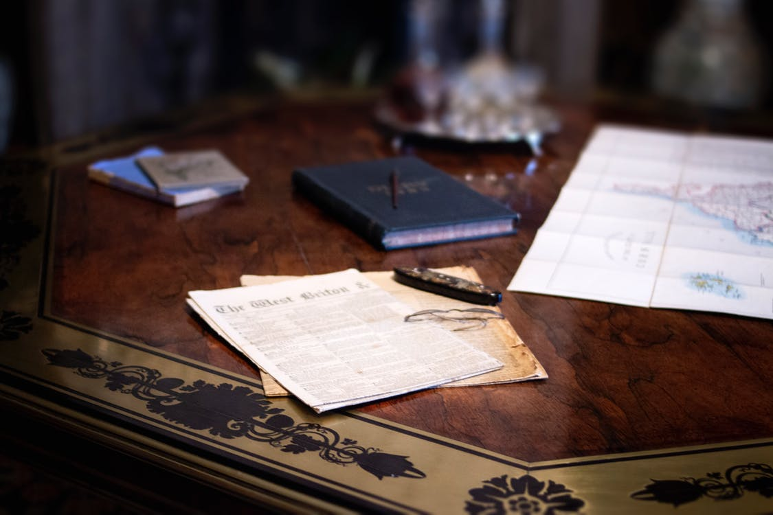 Blue Book on Table