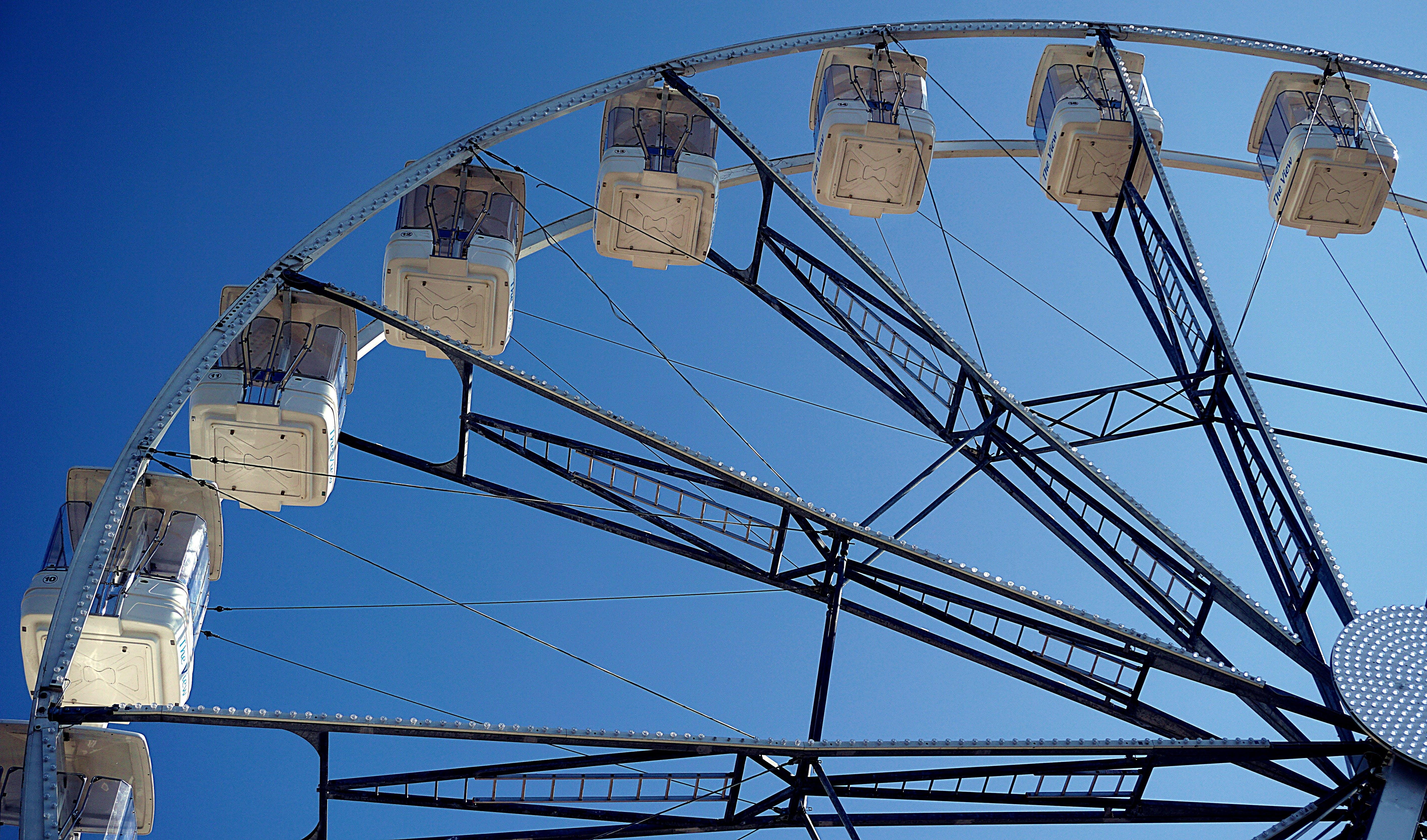 Free stock photo of big wheel, blue sky, entertainment, fairground
