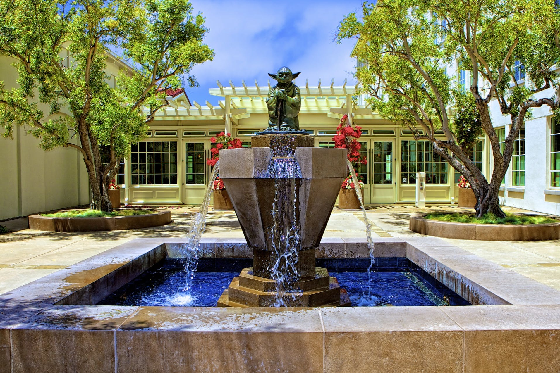 Fountain With Master Yoda Statue