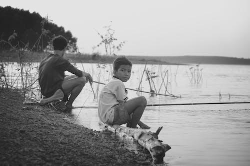 人, 父與子, 男孩, 看著 的 免费素材照片