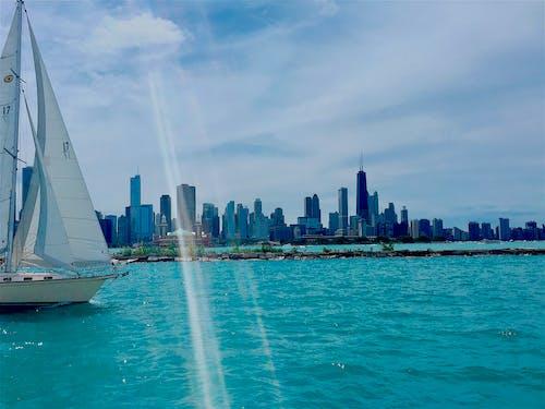 Základová fotografie zdarma na téma chicago, člun, modrá obloha, mraky