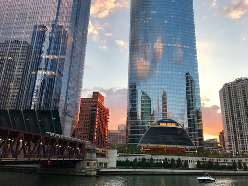 Základová fotografie zdarma na téma chicago, downtown chicago, most, odrazy světla