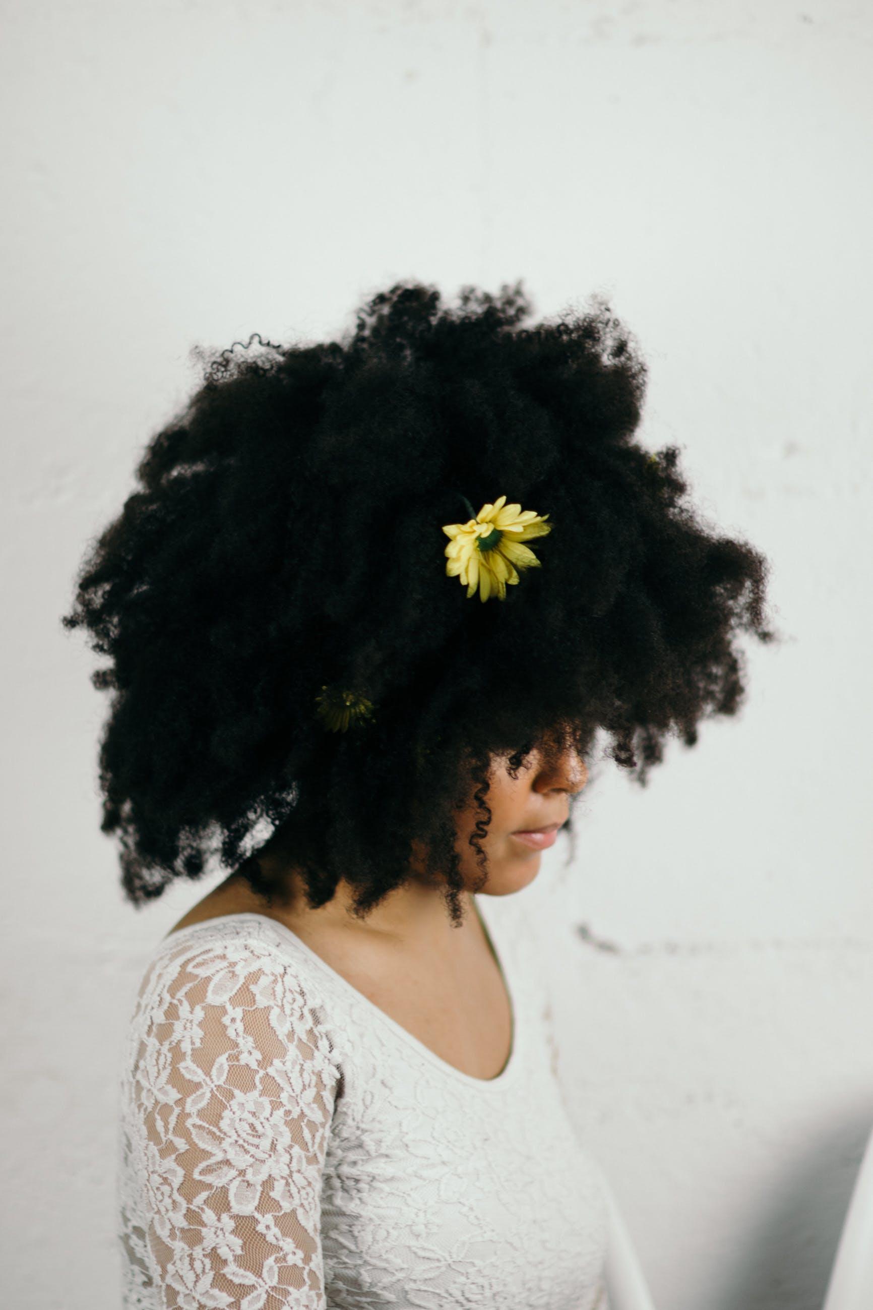 afro, ansigtsudtryk, blomst