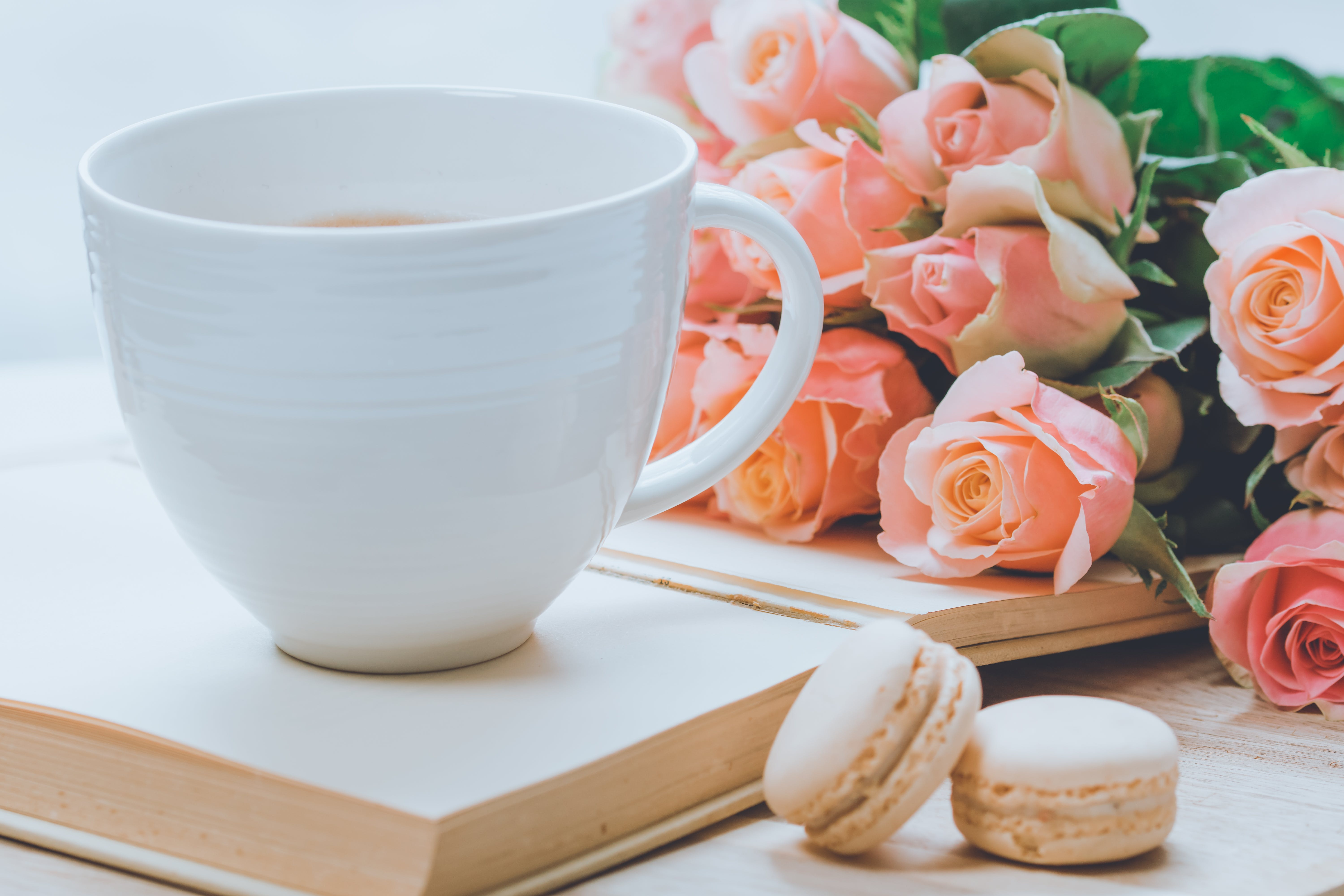 Close-Up Photo of Coffee Mug Near Pink Roses and Macarons
