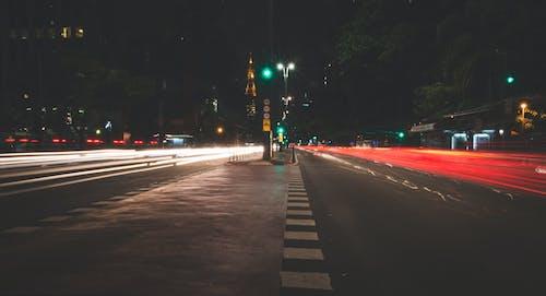 Imagine de stoc gratuită din asfalt, autostradă, dâre de lumină, drum