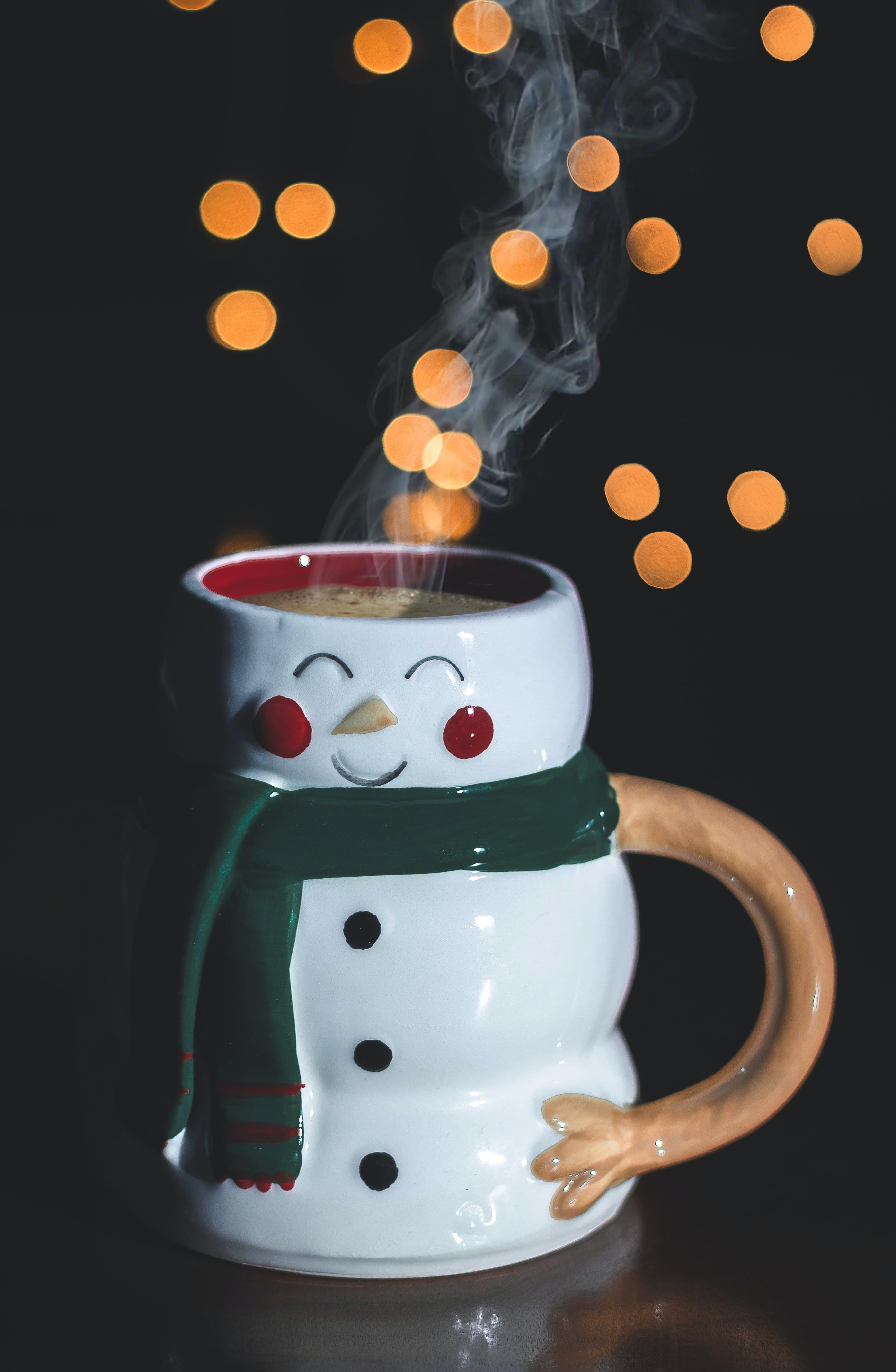 Free stock photo of black background, coffee, mug, snowman