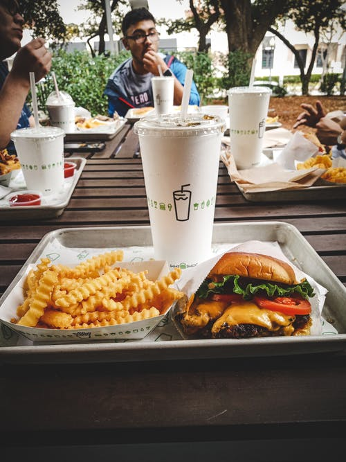 Free stock photo of burger, cheeseburger, drink, french fries