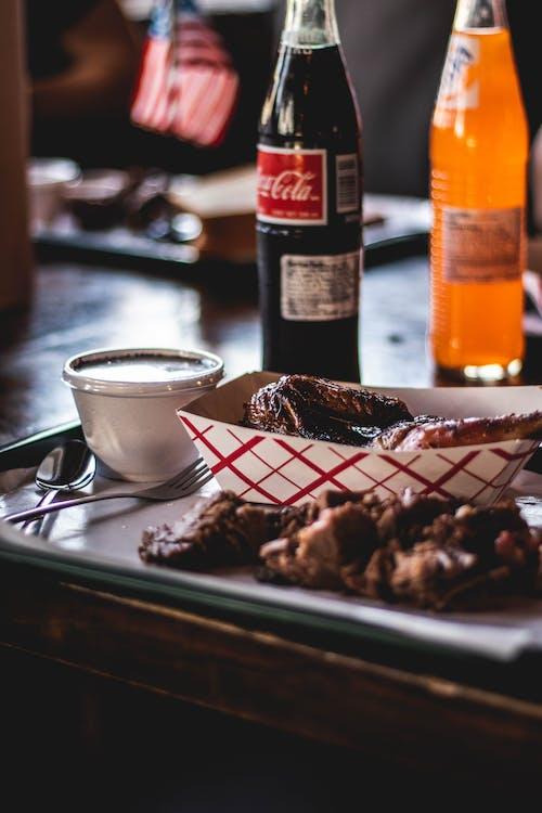 Food On Plate Beside Softdrinks