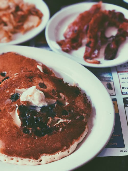 Free stock photo of bacon, chocolate chip, chocolate chip pancakes, diner