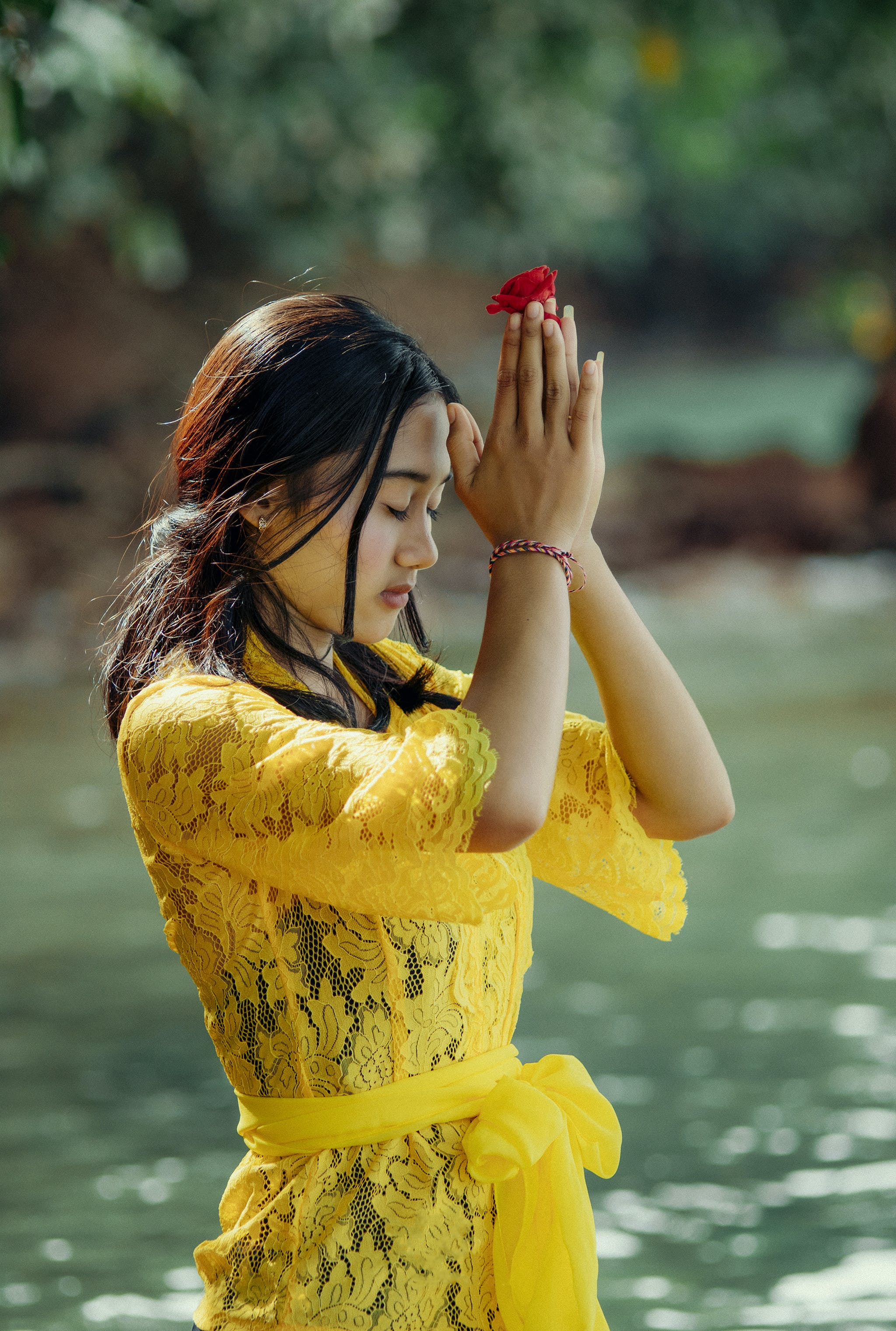 Woman in Yellow Dress Meditating