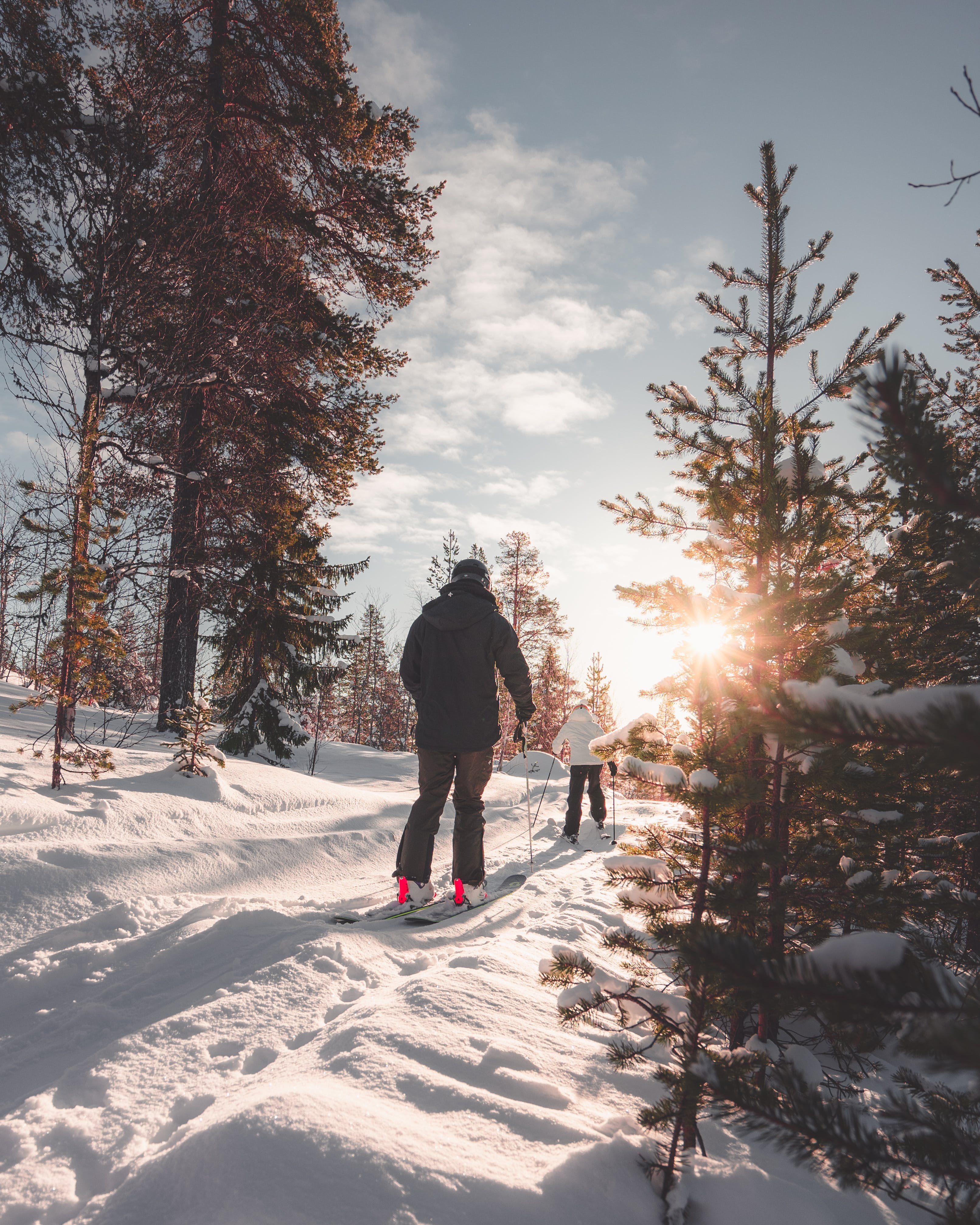 Two People on a Snow Trail
