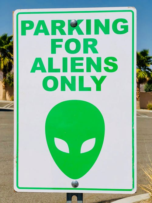 Photo of Parking for Aliens Only Signage
