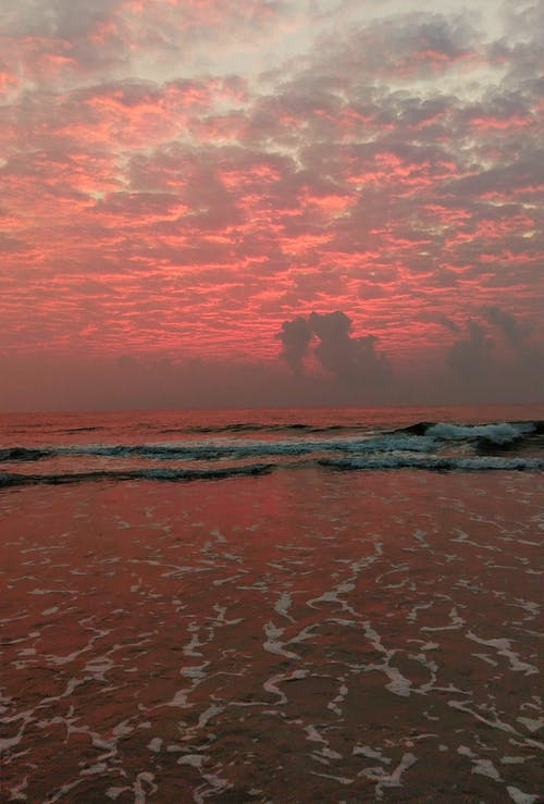 คลังภาพถ่ายฟรี ของ ขอบฟ้า, คลื่น, ตะวันลับฟ้า, ทะเล