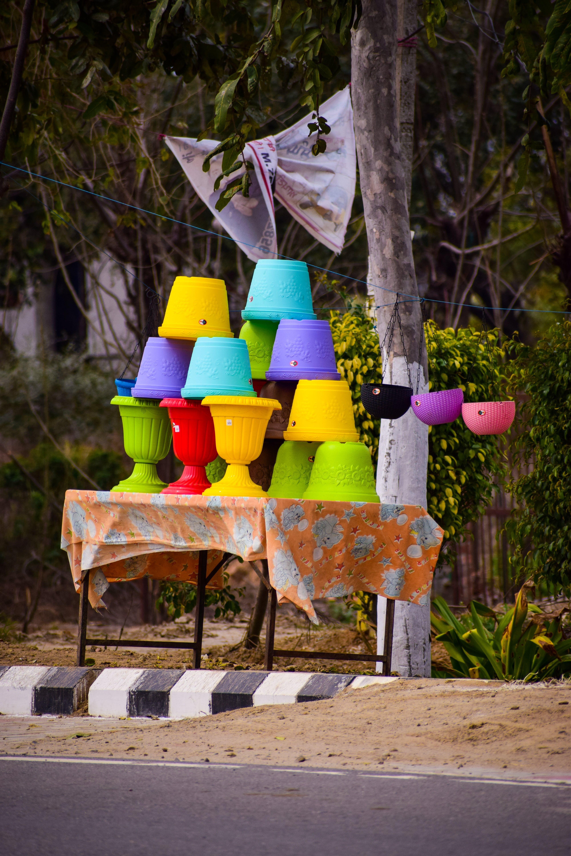 colour, f, flower pots