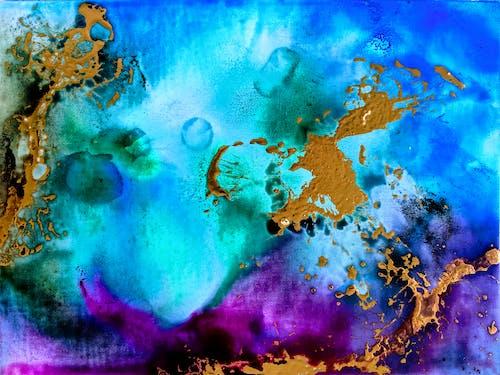 Photos gratuites de amber lamoreaux, art moderne, art violet turquoise, peinture