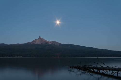 Montaña Junto A Un Cuerpo De Agua Tranquilo