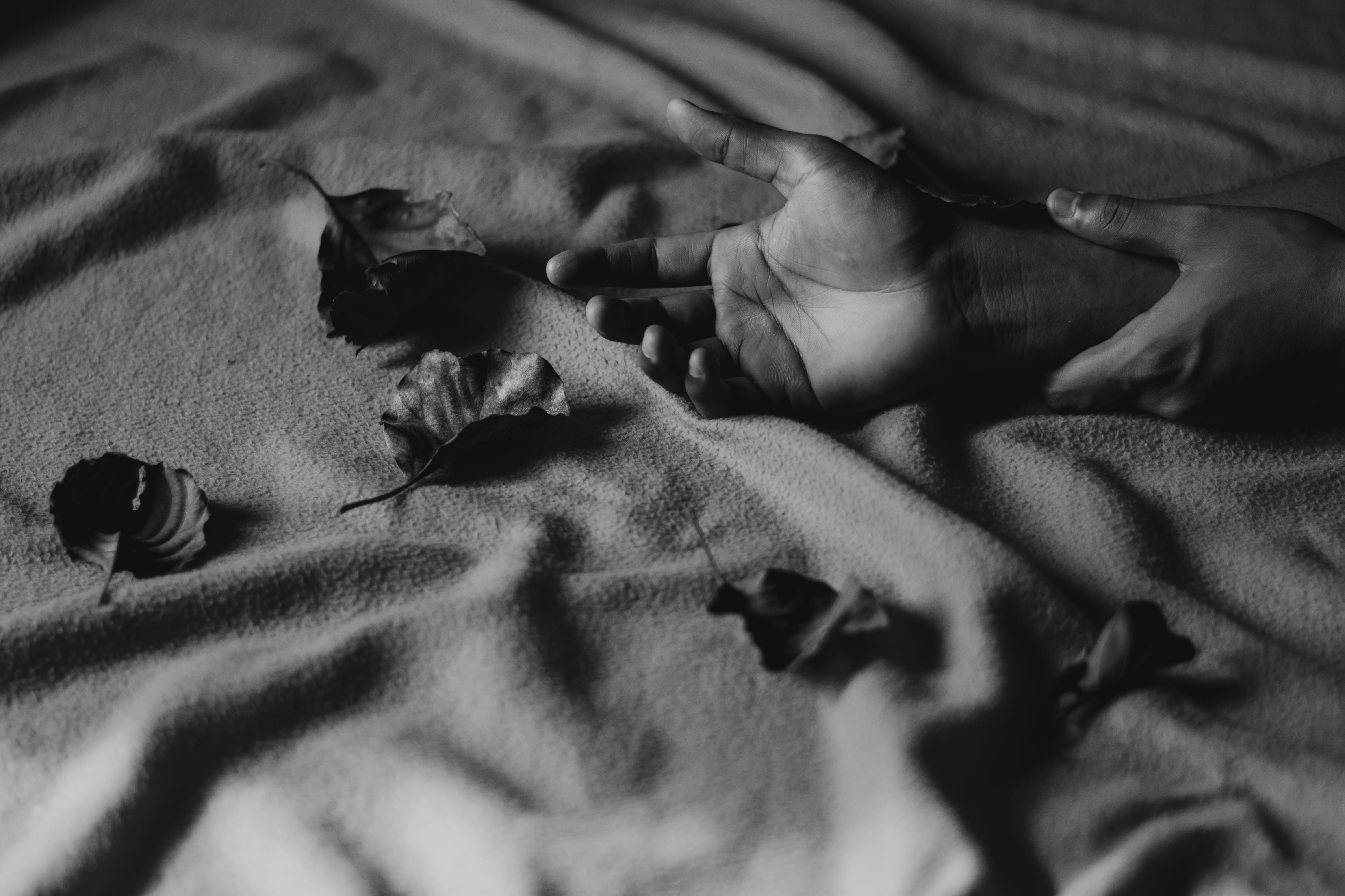 Grayscale Photography of Person's Hands on Textile With Leaves