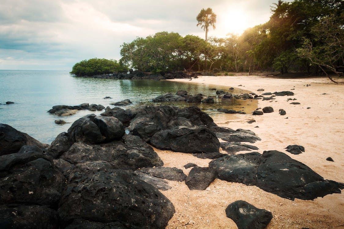 ακτή, άμμος, βράχια