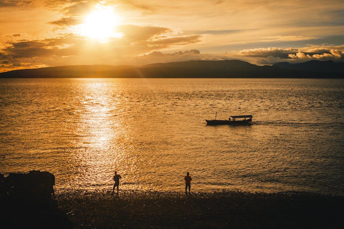 afgetekend, boot, gevormde silhouetten