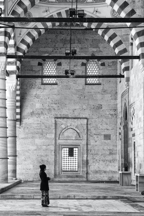 bnw, bw, モスク, 物乞いの無料の写真素材