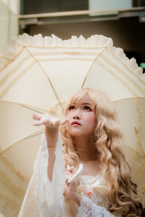Girl Wearing White Dress Holding White Umbrella
