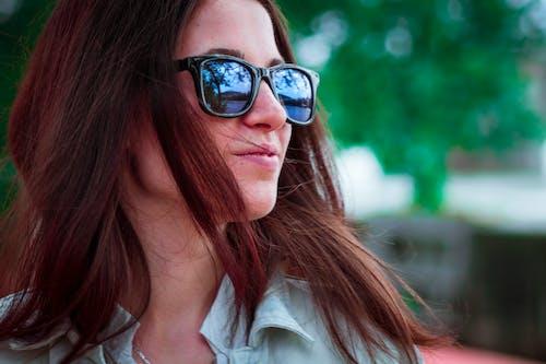 Smiling Woman Wearing Black Sunglasses