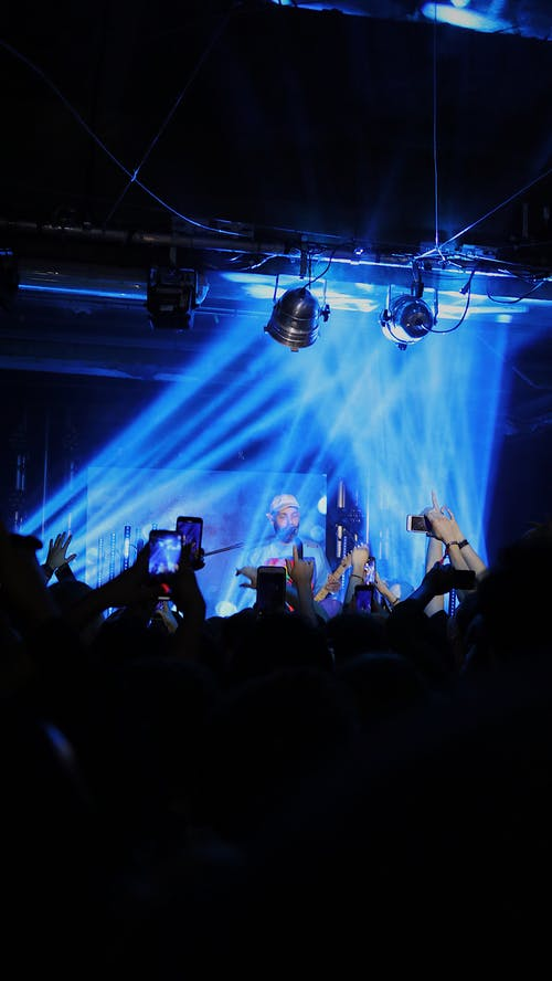 Free stock photo of blue lights, clubbing, concert, iphone