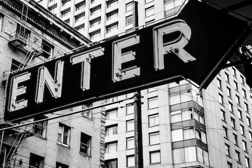 Ingyenes stockfotó fekete-fehér, felirat, jel témában