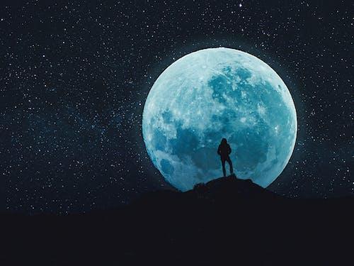 Foto stok gratis artis, biru, bulan, bulan purnama