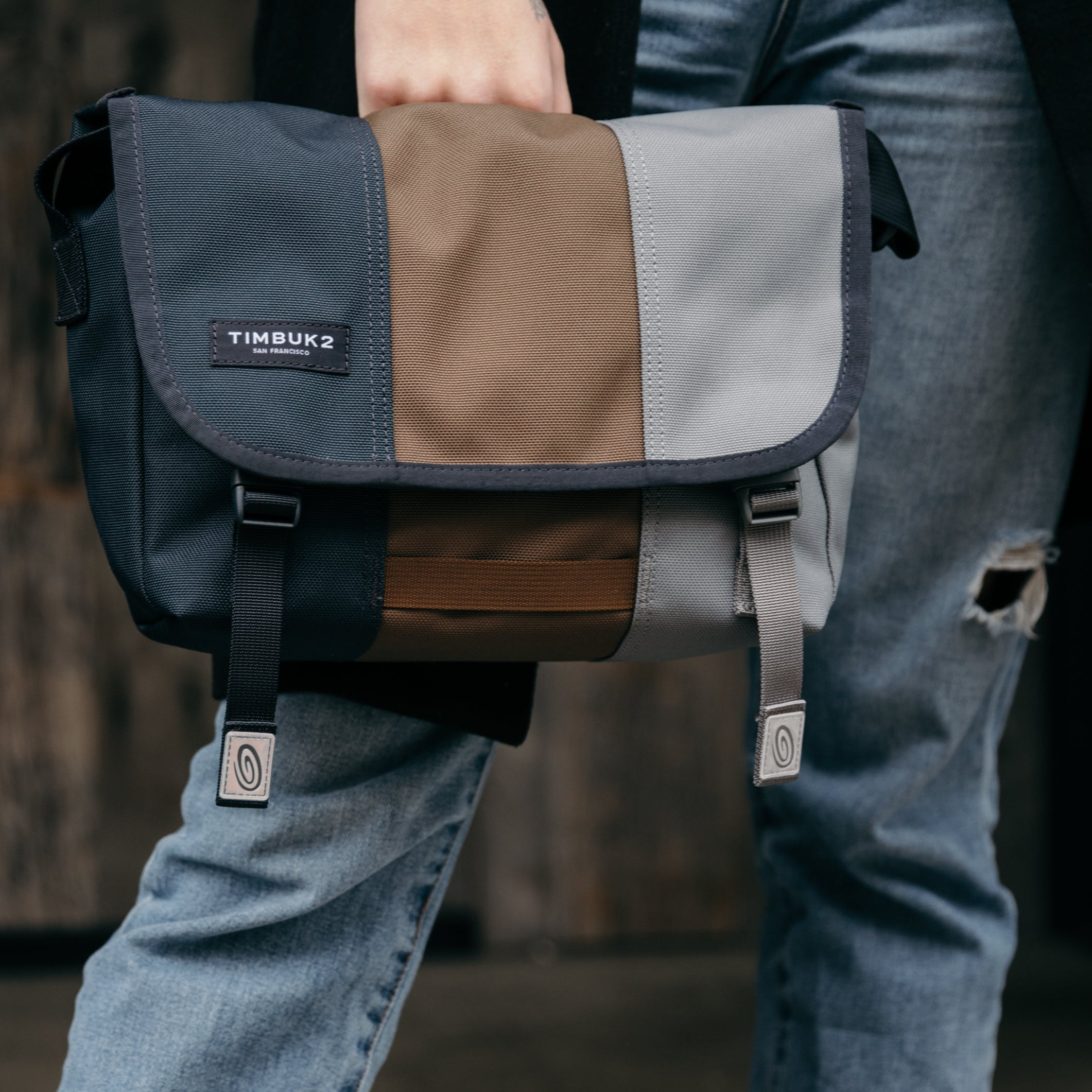 Blue, Brown, and gray Hand Bag
